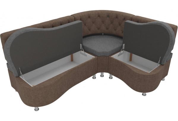 Кухонный угловой диван Вегас Серый/коричневый (Рогожка) - фото 5