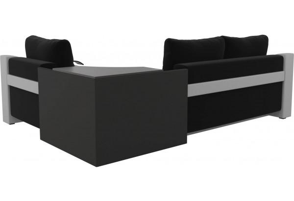 Угловой диван Митчелл Черный/Белый (Микровельвет/Экокожа) - фото 5