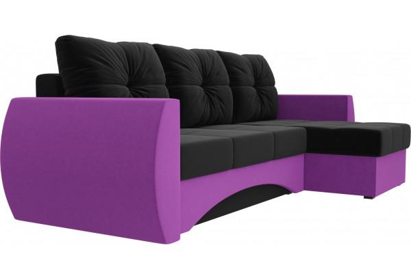 Угловой диван Сатурн черный/фиолетовый (Микровельвет) - фото 3