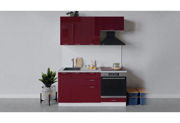 Кухонный гарнитур «Весна» длиной 160 см со шкафом НБ (Белый/Бордо глянец) - фото 1