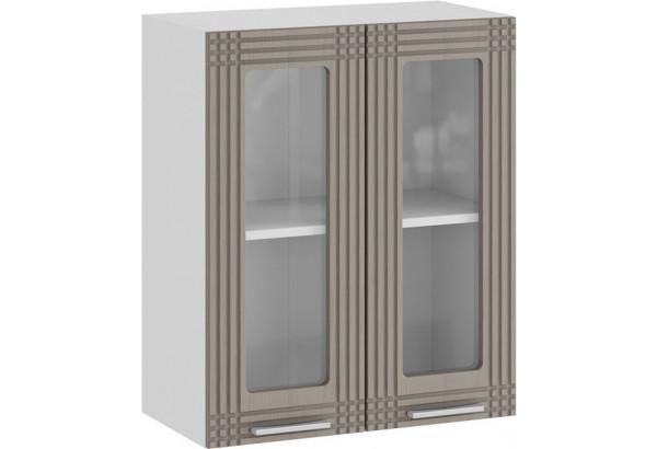 Шкаф навесной c двумя дверями со стеклом «Ольга» (Белый/Кремовый) - фото 1
