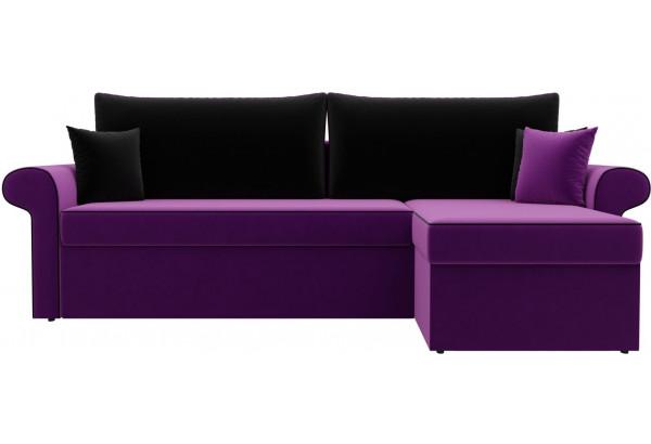 Угловой диван Милфорд Фиолетовый/Черный (Микровельвет) - фото 2
