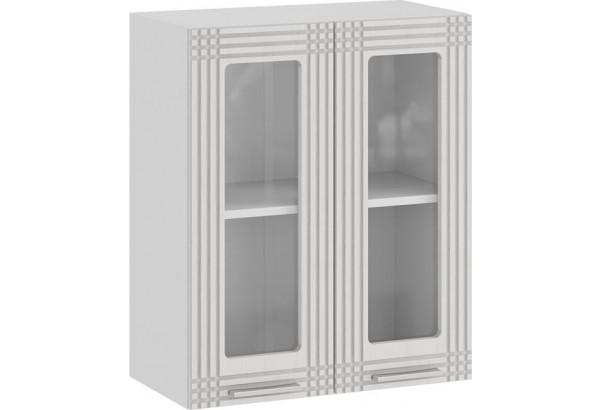 Шкаф навесной c двумя дверями со стеклом «Ольга» (Белый/Белый) - фото 1