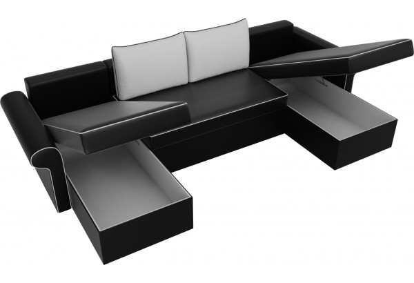 П-образный диван Милфорд Черный/Белый (Экокожа) - фото 5