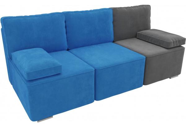 Диван прямой Радуга Голубой/Голубой/Серый (Велюр) - фото 4