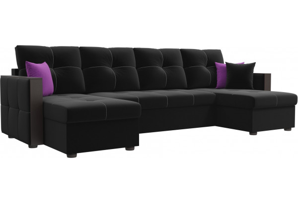 П-образный диван Валенсия Черный (Микровельвет) - фото 1