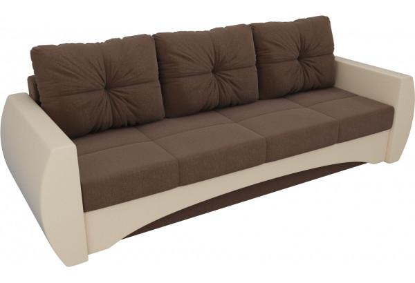Прямой диван Сатурн Коричневый/Бежевый (Рогожка/Экокожа) - фото 4