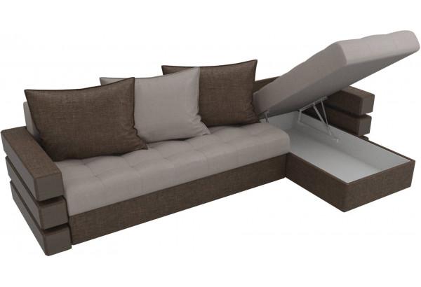 Угловой диван Венеция бежевый/коричневый (Рогожка) - фото 5