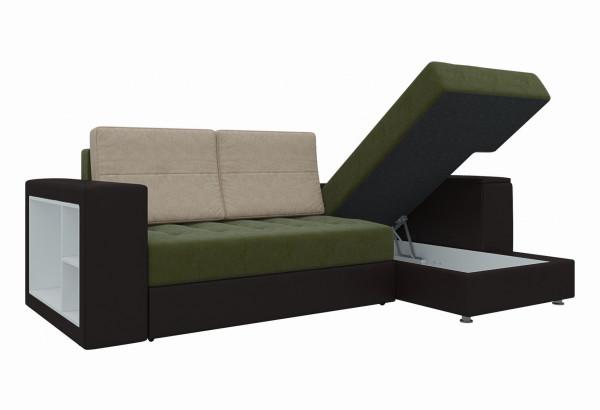 Угловой диван Атлантис зеленый/коричневый (Микровельвет) - фото 3