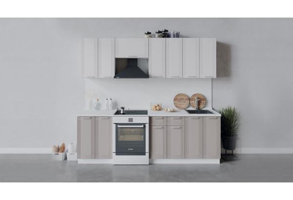 Кухонный гарнитур «Ольга» длиной 240 см (Белый/Белый/Кремовый) - фото 1