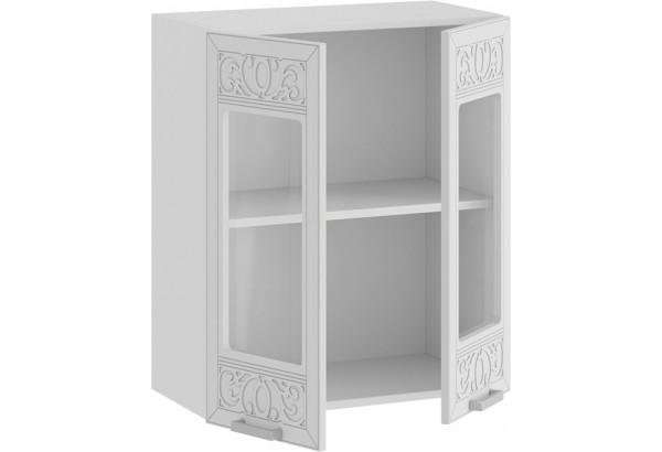 Шкаф навесной c двумя дверями со стеклом «Долорес» (Белый/Сноу) - фото 2