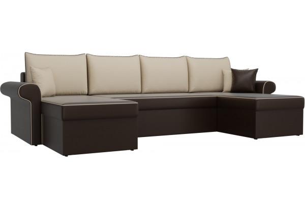 П-образный диван Милфорд Коричневый/Бежевый (Экокожа) - фото 1