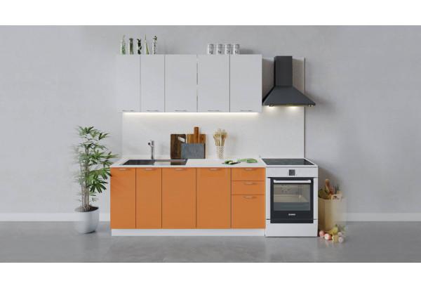 Кухонный гарнитур «Весна» длиной 180 см (Белый/Белый глянец/Оранж глянец) - фото 1