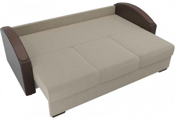 Прямой диван Монако slide бежевый/коричневый (Микровельвет/Экокожа/флок на рогожке) - фото 5