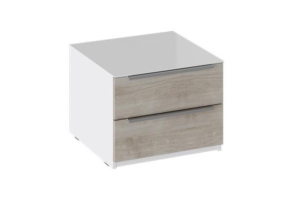 Тумба прикроватная с 2 ящиками «Синди» (Белый глянец/Баттл Рок) - фото 1