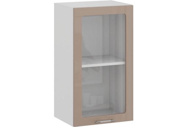 Шкаф навесной c одной дверью со стеклом «Весна» (Белый/Кофе с молоком) - фото 1