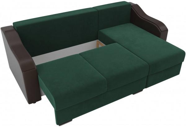 Угловой диван Монако зеленый/коричневый (Велюр/Экокожа) - фото 6