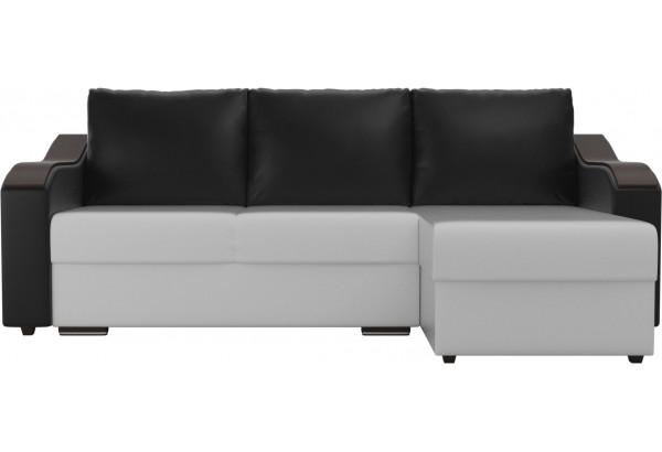 Угловой диван Монако Белый/Черный/Черный (Экокожа) - фото 2