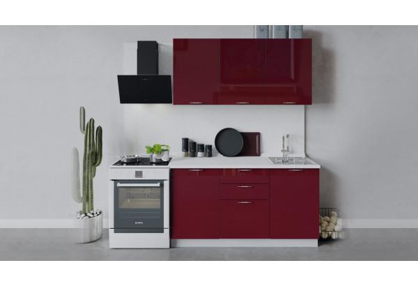 Кухонный гарнитур «Весна» длиной 150 см (Белый/Бордо глянец) - фото 1