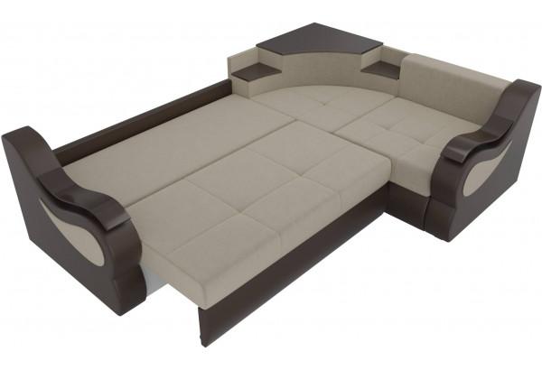 Угловой диван Митчелл бежевый/коричневый (Микровельвет/Экокожа) - фото 7