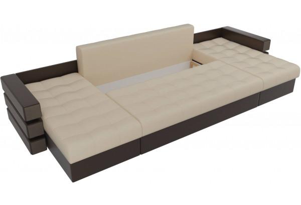 П-образный диван Венеция бежевый/коричневый (Экокожа) - фото 6