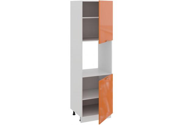 Шкаф-пенал под бытовую технику с двумя дверями «Весна» (Белый/Оранж глянец) - фото 2