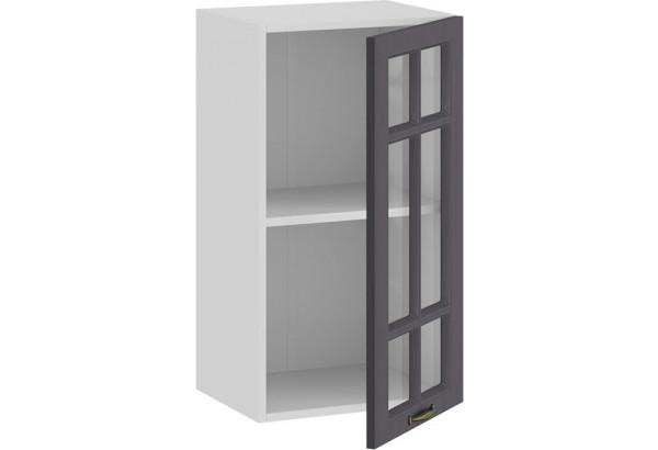 Шкаф навесной c одной дверью со стеклом «Лина» (Белый/Графит) - фото 2