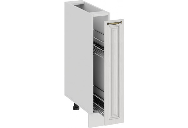 Шкаф напольный с выдвижной корзиной «Лина» (Белый/Белый) - фото 2