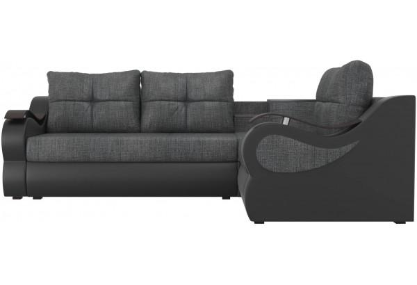 Угловой диван Митчелл Серый/черный (Рогожка/Экокожа) - фото 2
