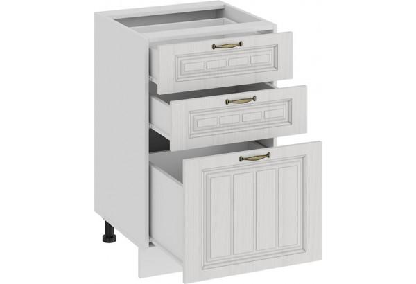 Шкаф напольный с тремя ящиками «Лина» (Белый/Белый) - фото 2