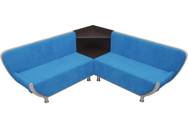 Кухонный угловой диван Лотос голубой/бежевый (Велюр) - фото 3