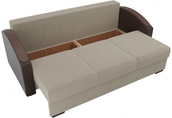 Прямой диван Монако slide бежевый/коричневый (Микровельвет/Экокожа/флок на рогожке) - фото 6