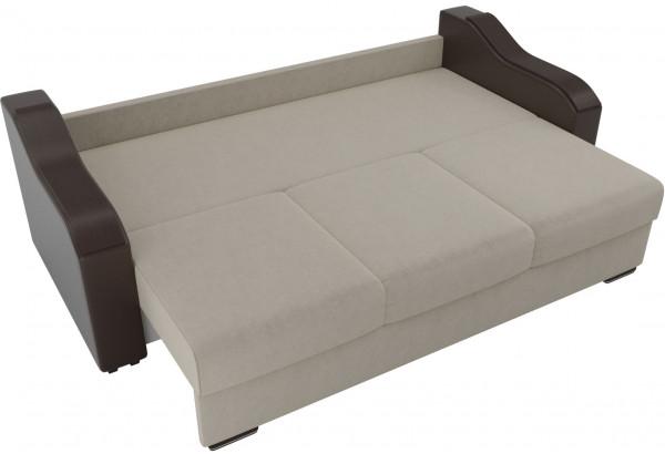 Прямой диван Монако бежевый/коричневый (Микровельвет/Экокожа) - фото 6