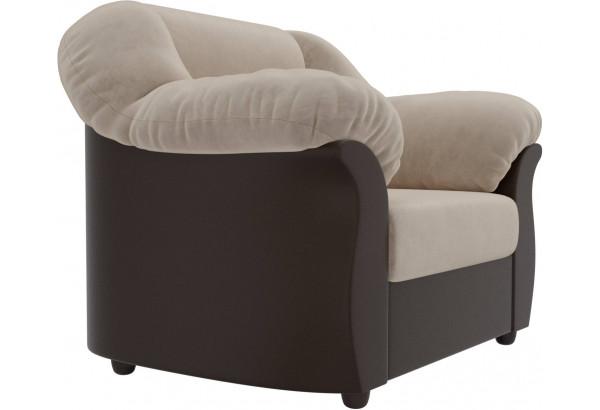 Кресло Карнелла бежевый/коричневый (Велюр/Экокожа) - фото 3