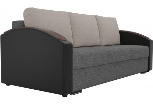 Прямой диван Монако slide Серый/черный (Рогожка/Экокожа) - фото 3