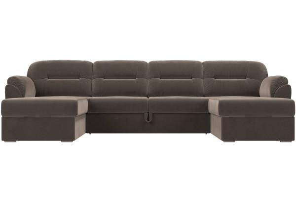 П-образный диван Бостон Коричневый (Велюр) - фото 2