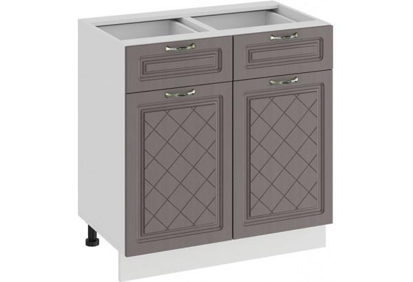 Шкаф напольный с двумя ящиками и двумя дверями «Бьянка» (Белый/Дуб серый) - фото 1