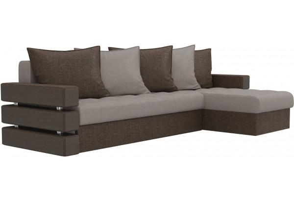 Угловой диван Венеция бежевый/коричневый (Рогожка) - фото 3