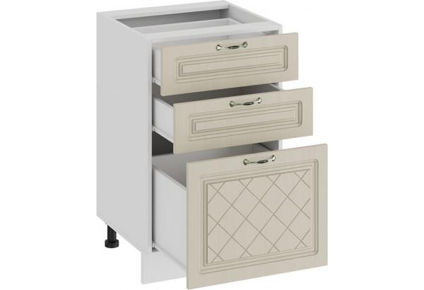 Шкаф напольный с тремя ящиками «Бьянка» (Белый/Дуб ваниль) - фото 2