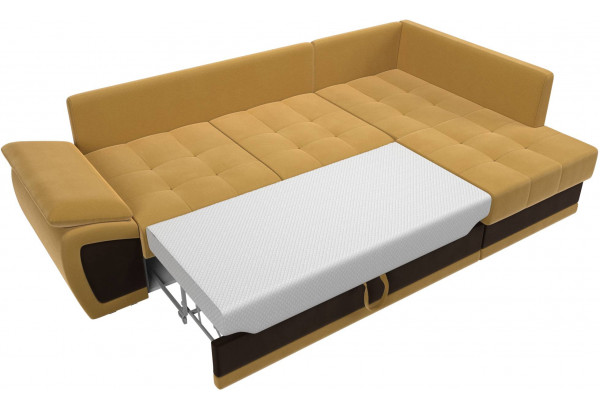 Угловой диван Нэстор прайм Желтый/коричневый (Микровельвет) - фото 8