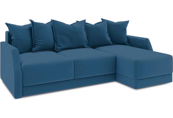 Диван угловой правый «Люксор Slim Т1» (Beauty 07 (велюр) синий) - фото 1