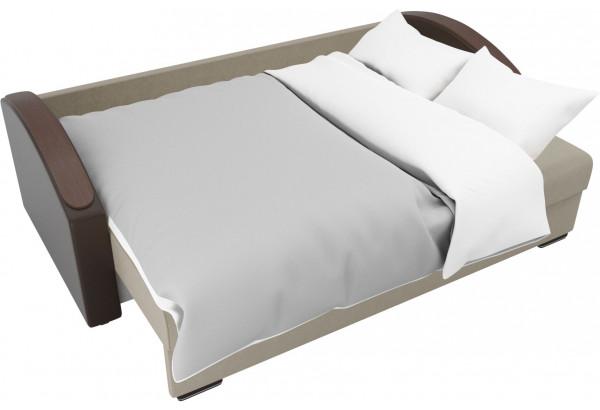 Прямой диван Монако slide бежевый/коричневый (Микровельвет/Экокожа/флок на рогожке) - фото 7