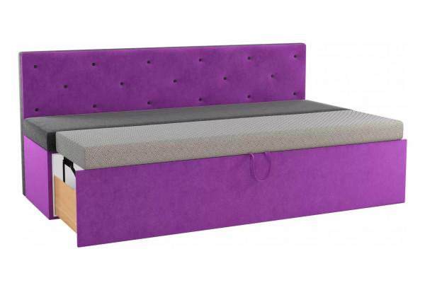 Кухонный прямой диван Салвадор черный/фиолетовый (Микровельвет) - фото 2
