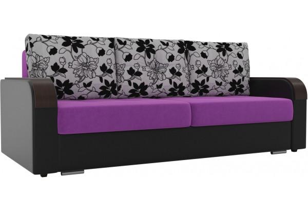 Прямой диван Мейсон Фиолетовый/Черный (Микровельвет/Экокожа/флок на рогожке) - фото 1
