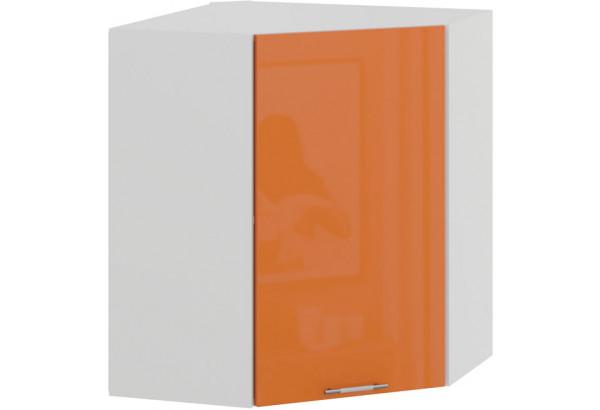 Шкаф навесной угловой «Весна» (Белый/Оранж глянец) - фото 1