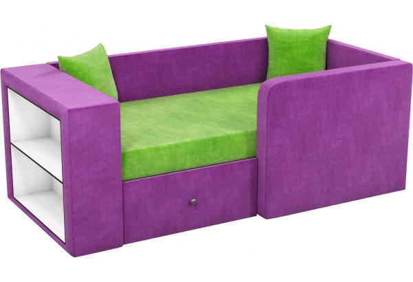 Детский диван Орнелла зеленый/фиолетовый (Микровельвет) - фото 1