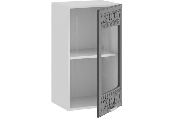 Шкаф навесной c одной дверью со стеклом «Долорес» (Белый/Титан) - фото 2