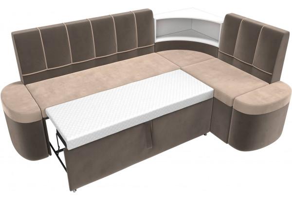 Кухонный угловой диван Тефида бежевый/коричневый (Велюр) - фото 7