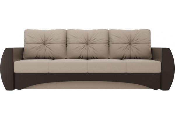Прямой диван Сатурн бежевый/коричневый (Рогожка/Экокожа) - фото 2
