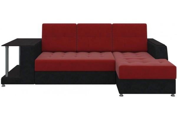 Угловой диван Атланта красный/Черный (Микровельвет) - фото 4